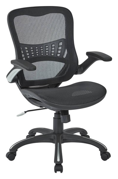 Ventilated Seating Black Metal Mesh Seat & Back Manager Chair OSP-69906-3