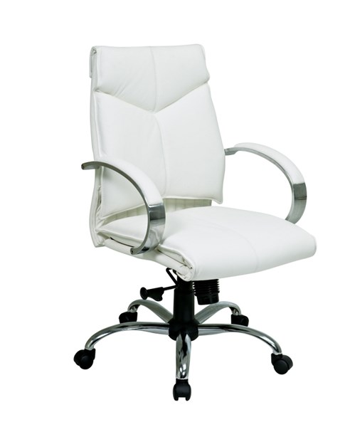 Deluxe Mid Back White Leather Executive Chair OSP-7271
