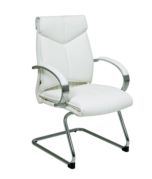 Deluxe Mid Back White Leather Visitors Chair OSP-7275