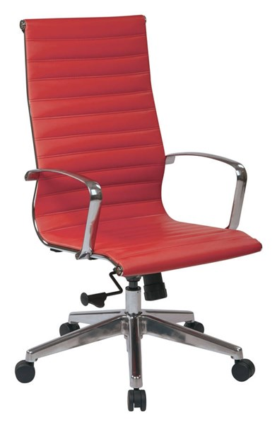 High Back Red Bonded Leather Locking Tilt Control Aluminum Arms Chair OSP-73029LT