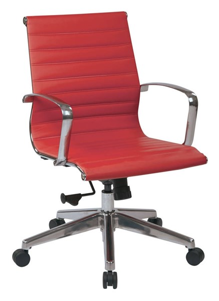 Mid Back Red Bonded Leather Locking Tilt Control Aluminum Arms Chair OSP-73129LT