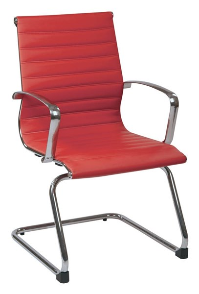 Red Bonded Leather Aluminum Frame Arms & Base Visitor Chair OSP-73529