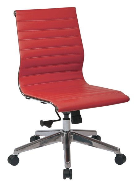 Mid Back Armless Red Bonded Leather Aluminum Base Chair OSP-73639