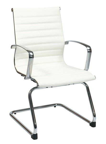 Contemporary White Bonded Leather Mid Back Visitors Chair OSP-74523