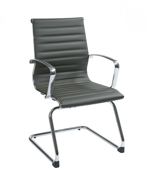Contemporary Gray Bonded Leather Sled Base Visitors Chair OSP-74652
