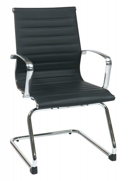 Contemporary Black Bonded Leather Sled Base Visitors Chair OSP-74653