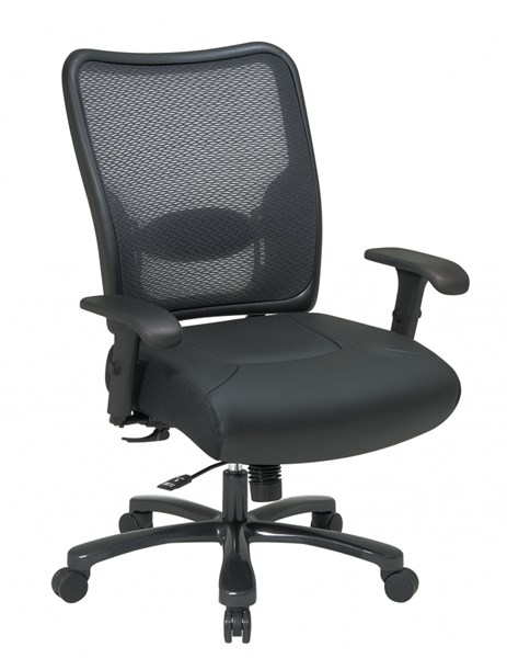Black Double Air Grid Big & Tall Leather Back & Seat Ergonomic Chair OSP-75-47A773