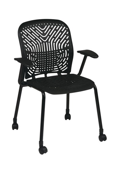 2 Contemporary Raven Black Polypropylene Metal Casters Visitors Chairs OSP-801-333AC