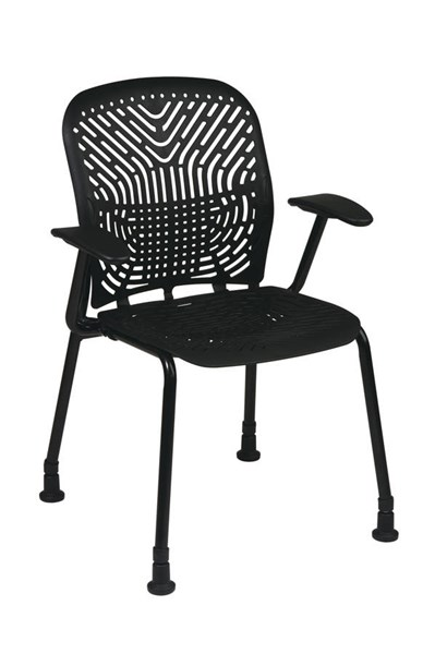 2 Contemporary Raven Black Polypropylene Metal Deluxe Visitors Chairs OSP-801-333AG