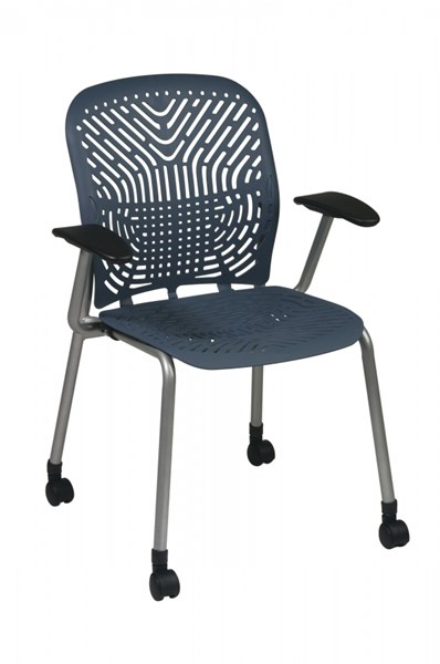 2 Blue Mist Grey Deluxe SpaceFlex Seat & Back Visitor Chairs w/Casters OSP-801-776AC