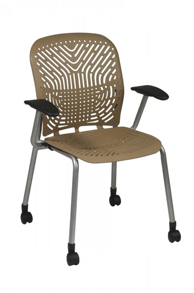 2 Latte Grey Deluxe SpaceFlex Seat & Back Visitors Chairs w/Casters OSP-801-886AC
