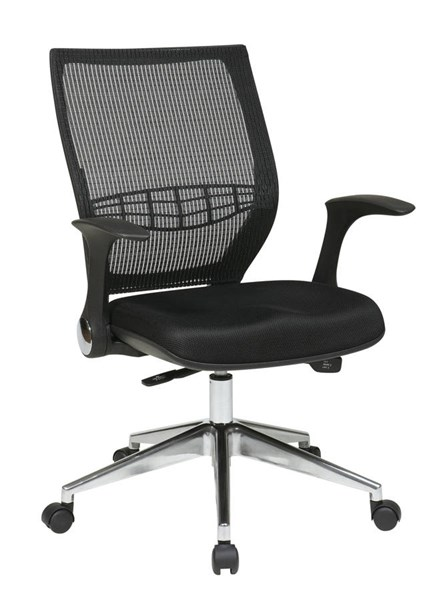 Progrid Polished Aluminum Mesh Fabric Metal Back Managers Chair OSP-80885AL-3M
