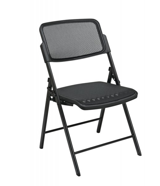 2 Deluxe Folding Chairs w/Black ProGrid Seat & Back OSP-81308-608-VAR