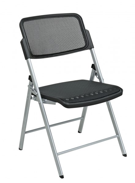 2 Black Silver ProGrid Seat & Back Deluxe Folding Chairs OSP-81608
