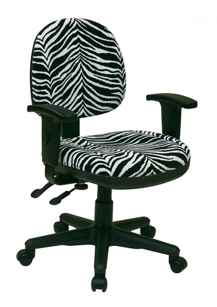 Black Zebra Fabric Metal ProGrid Sculptured Ergonomic Managers Chair OSP-8180-237