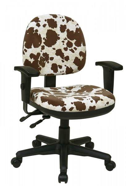 Brown Cow Fabric Metal ProGrid Sculptured Ergonomic Managers Chair OSP-8180-243