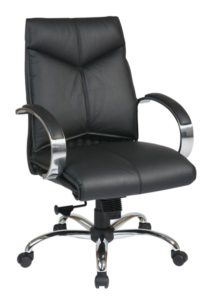 Black Deluxe Mid Back Leather Executive Chair OSP-8201