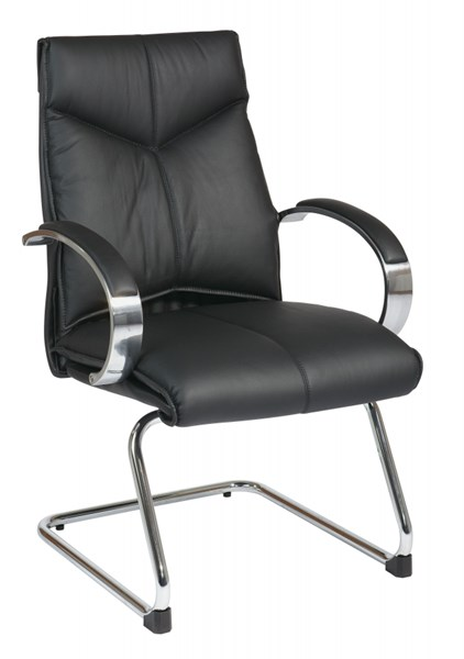 Black Deluxe Mid Back Visitors Leather Chair OSP-8205