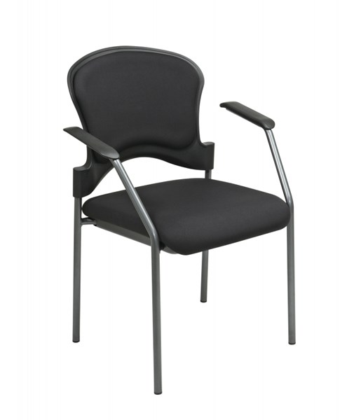 2 Titanium Black Upholstered Contour Back Visitors Chairs w/Arms OSP-82710-30