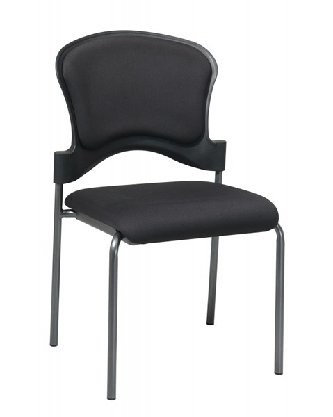 2 Titanium Black Upholstered Contour Back Armless Visitors Chairs OSP-82720-30