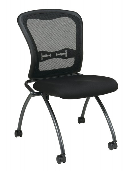 2 Titanium Black ProGrid Back & Caster Deluxe Armless Folding Chairs OSP-84220-30
