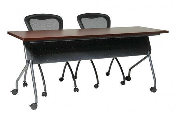 6 Ft. Training Table Titanium Frame & Mahogany Top OSP-84226TM