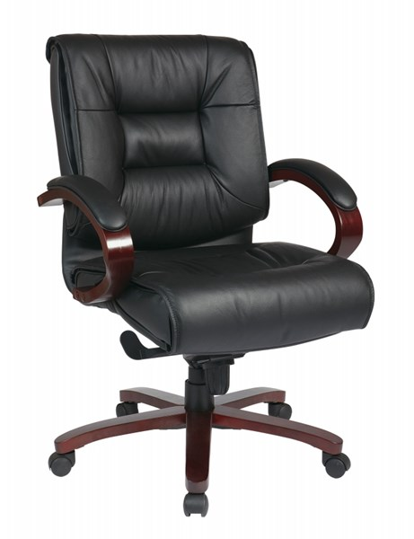 Black Mahogany Deluxe Mid Back Leather Executive Chair OSP-8501