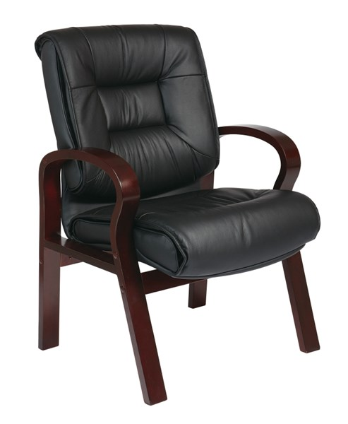 Black Mahogany Deluxe Mid Back Leather Visitors Chair OSP-8505