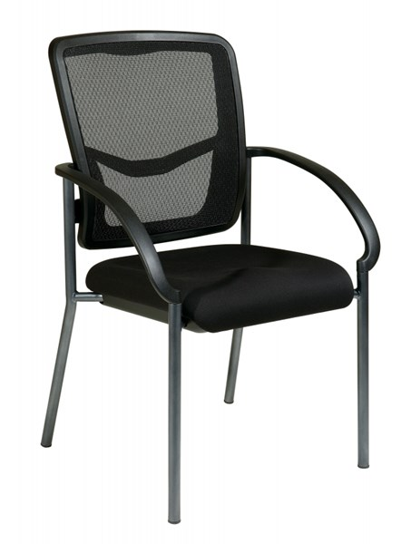 Black Grey ProGrid Visitors Chair W/Arms & W/o Casters OSP-85670-30