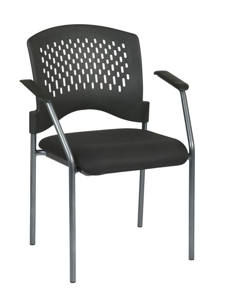 Black Cherry Visitors Chair w/Arms & Plastic Wrap Around Back OSP-8610-30