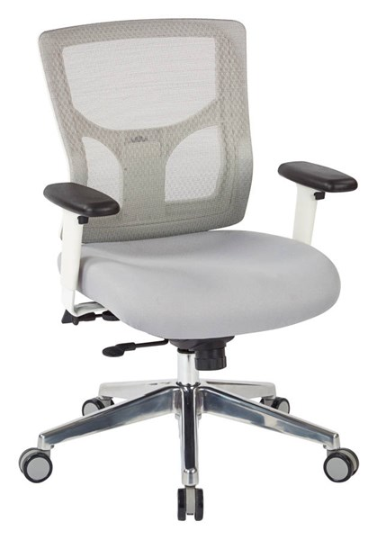 ProGrid White Mesh Mid Back 2-Way Adjustable Arms Ratchet Back Chair OSP-95673