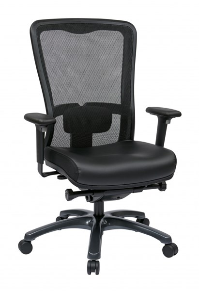 Black ProGrid High Back Chair w/Leather Seat OSP-97728-EC3