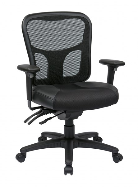 Black ProGrid High Back Managers Chair w/Leather & Mesh Seat OSP-98346