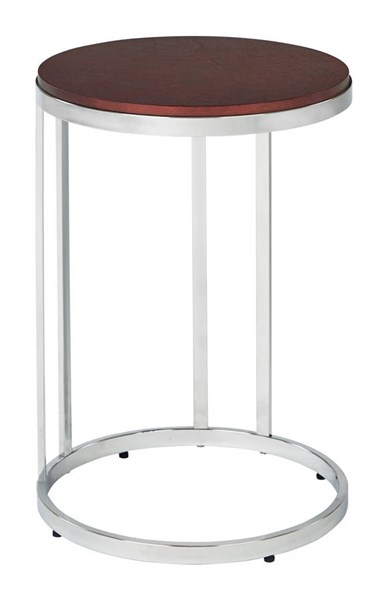 Alexandria Cherry Top Chrome Metal Plating Legs Round Side Table OSP-ALX08-CHY