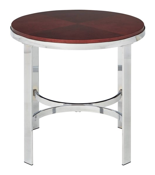 Alexandria Cherry Top Chrome Metal Plating Legs Round End Table OSP-ALX09-CHY