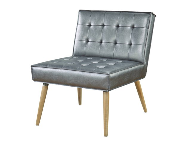 Amity Tuffed Sizzle Pewter Fabric with Chrome Legs Accent Chair OSP-AMT51T-S52