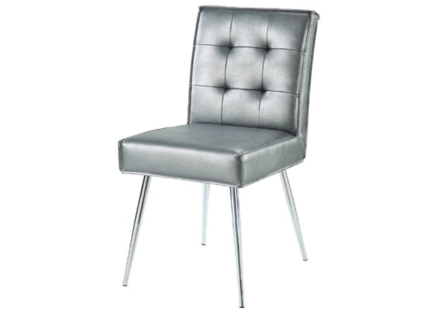 Amity Tuffed Sizzle Pewter Fabric with Chrome Legs Dining Chair OSP-AMTD-S52