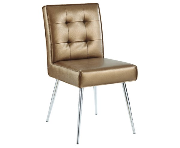 Amity Tuffed Sizzle Copper Fabric with Chrome Legs Dining Chair OSP-AMTD-S53
