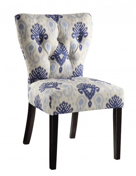 Andrew Blossom Blue Tufted Back Fabric Solid Wood Parson Chair OSP-AND-M13