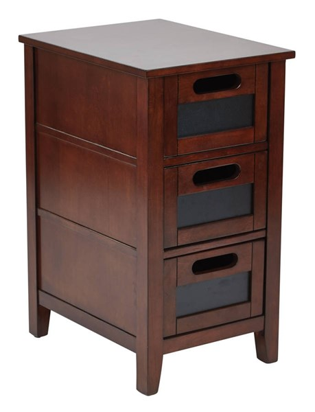 Avery Chalkboard Saddle Finish Solid Wood Chair Side Table OSP-AVR08AS-SD