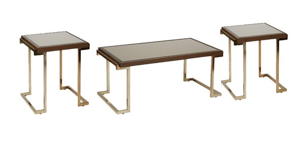 Isabella Bronze Glass Top Campagne Metal Frame 3pc Coffee Table Set OSP-BEL07-CHG-OCT-S
