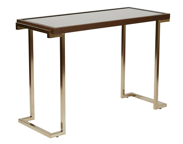 Isabella Bronze Glass Top Campagne Metal Frame Foyer Table OSP-BEL07-CHG