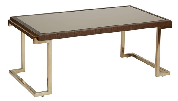 Isabella Bronze Glass Top Campagne Metal Frame Coffee Table OSP-BEL12-CHG