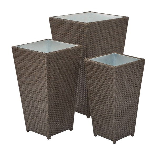 Country Espresso Rattan Steel Outdoor 3pc Nesting Planter Stand Set OSP-BF1193AS3-ES