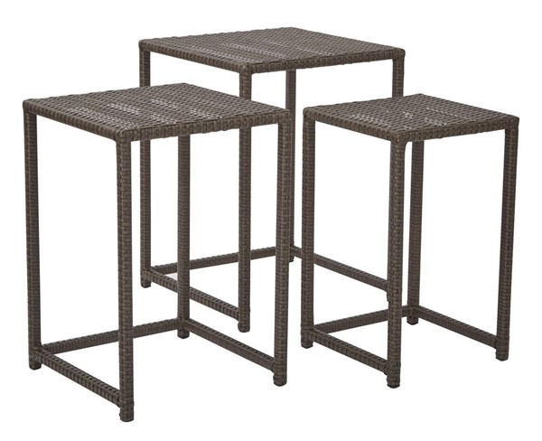 Country Brown Rattan Steel Outdoor 3pc Nesting Table Set OSP-BF1778SAS3-ES
