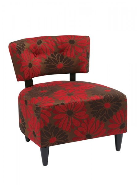 Boulevard Groovy Red Fabric Wood Armless Chair OSP-BLV-G14