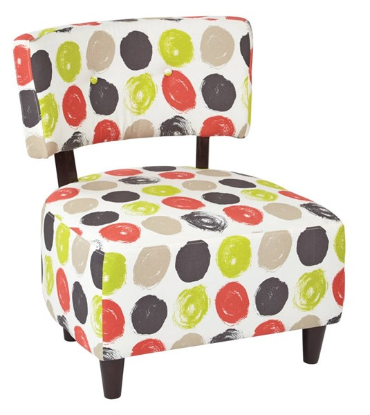 Boulevard Dark Espresso Finished Legs & Dot Poppy Fabric Chair OSP-BLV-R8