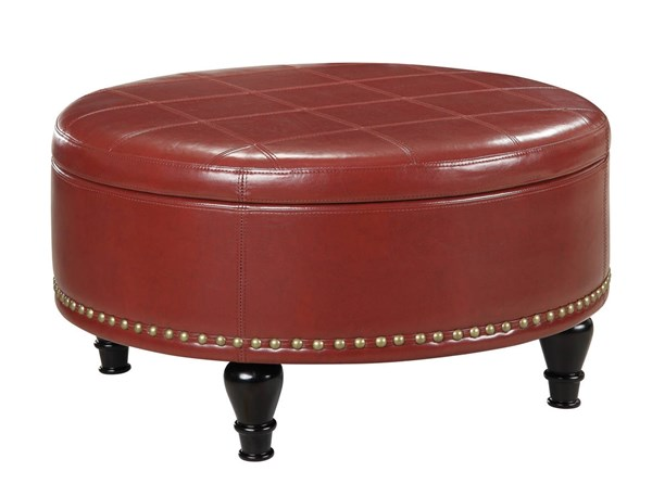 Augusta Transitional Crimson Red Bonded Leather Storage Ottoman OSP-BP-AUOT32-B19