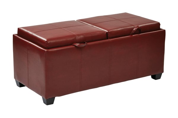 Bedford Red Bonded Leather Dual Trays & Seats Storage Ottoman OSP-BP-BFOT42-B19