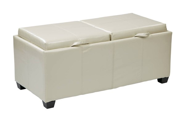 Bedford Cream Bonded Leather Dual Trays & Seats Storage Ottoman OSP-BP-BFOT42-B28
